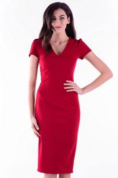 Rochie Miriam Marsala – Karla.Club Short Sleeve Dresses, Dresses With Sleeves, Marsala, Bodycon Dress, Club, Collection, Fashion, Marsala Wine, Moda