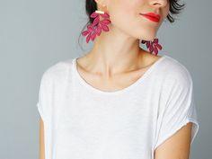 EARRINGS // Argente // Lace Earrings/ Maroon Earrings/ by EPUU, $26.00