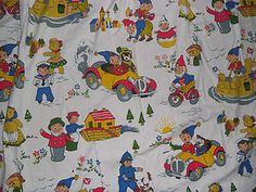 Vintage Noddy in toy town curtain 1976 fabric for crafts