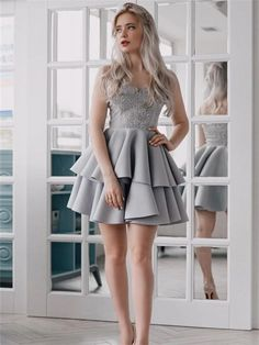 A-line Spaghetti Straps Appliques Top Short Homecoming Dresses With Pleats, HD0482#homecoming #homecomingdresses #2020homecoming #homecomingdress White Lace Shorts, Gowns Online, Custom Dresses, Lace Sleeves, Dream Dress, Spaghetti Straps, Appliques, Dress Making, Homecoming Dresses