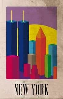 Poster of NY Skyline with Twin Towers