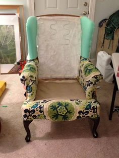 make bake u0026 love Re-Upholstering a Wing Back Chair Part 2 & 34 best How to reupholster a Wingback Chair images on Pinterest ...