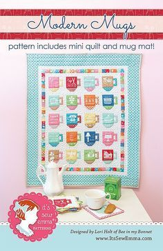 Modern Mugs Mini Quilt Pattern by Lori Holt of Bee in my Bonnet ... : quilts and a mug - Adamdwight.com
