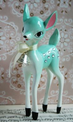 Retro this little aqua deer ornament is a reproduction of a vintage decoration made in japan in the - 1950s Christmas, Noel Christmas, Vintage Christmas Ornaments, Vintage Holiday, Christmas Photos, Christmas Crafts, Christmas Decorations, Christmas Figurines, Xmas