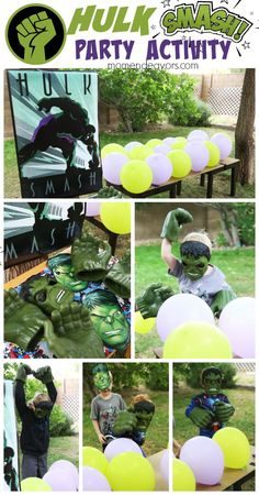 Hulk Smash Party Activity - Perfect for a fun Avengers or Superhero Party! Hulk Birthday Parties, Superhero Birthday Party, Boy Birthday, Birthday Ideas, Avenger Party, Incredible Hulk Party, Superhero Party Games, Avengers Birthday, Fun Food