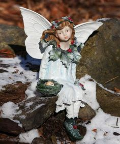 This Holly Seated Fairy Garden Figurine is perfect! #zulilyfinds