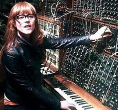 Hannah Peel tweaking knobs on a huge modular synth