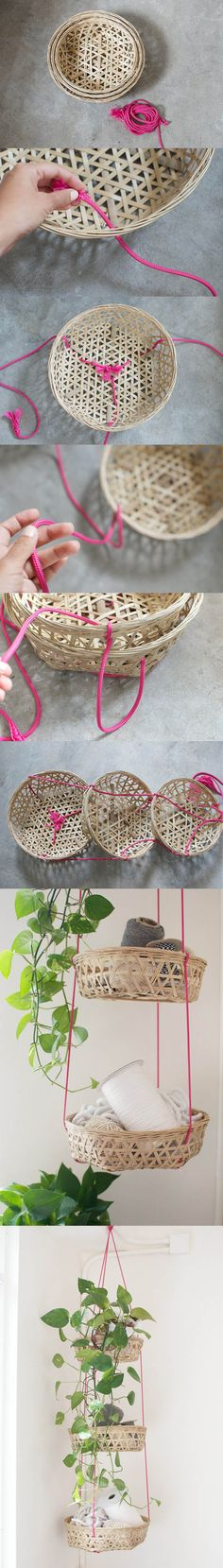 DIY hanging baskets.. Another fun idea for organising craft supplies and using less desk/counter space.