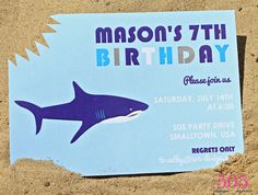 Shark Birthday Party Invitation Shark Invitation by by 505design, $13.50