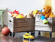 Such a good idea for kids toys...can move them from room to room in an old crate fashioned with wheels...