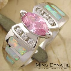 Pink Topaz  White Fire Opal Silver Gemstone Ring US #9