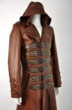 """Mens Brown Real Leather Matrix STEAMPUNK Van Helsing Trench Coat 42"""" Chest"""
