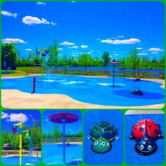 Ohio YMCA spray water park. 3,000+ splash pad with 4 above ground water play features and countless ground nozzles