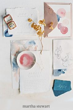 Watercolor details are romantic and work well on contemporary paper goods, as evidenced by this abstract iteration from Farmette Press & Paper Company. Splashes of paint, ranging in shades from blush to navy, added a punch of color to the modern set. #weddingideas #wedding #marthstewartwedding #weddingplanning #weddingchecklist Whimsical Wedding Invitations, Printable Wedding Invitations, Wedding Stationary, Invites, Watercolor Wedding Invitations, Watercolor Cards, Wedding Cards, Stationery, Martha Stewart