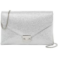 LOEFFLER RANDALL Signature Lock Leather Clutch ($200) ❤ liked on Polyvore featuring bags, handbags, clutches, silver, chain strap purse, kiss-lock handbags, metallic handbags, metallic clutches and white leather purse