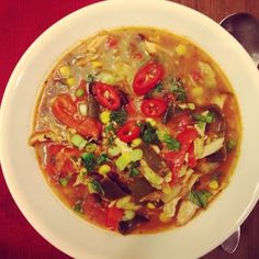 YUMM Crock Pot Chicken Enchilada Soup!  SO healthy and SOO EASY! Only 214 calories per bowl!  #eatclean