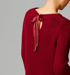 massimo dutti - CABLE-KNIT SWEATER WITH BOW AT THE BACK