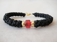 Cotton Prayer Rope Bracelet with a Red Bead and a by BYZANTINO