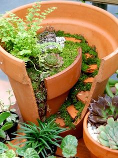 Fairy Gardens Made From Broken Flower Pots With DIY