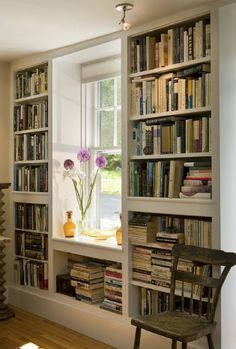 Home Library ~ shelves surrounding window