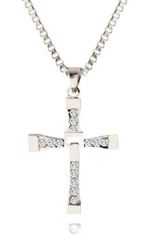 D for Diamond 9ct Gold Small Cross Pendant on a Chain of Length 35.5cm GOh647V