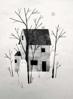 House Ghost by Jon Klassen cute simple Halloween art illustration with hints of winter go brrrr not boo it's cold outside Art And Illustration, Gravure Illustration, Ghost Shows, Wow Art, Graffiti, Halloween Art, Graphic, Painting & Drawing, Ghost Drawing