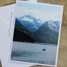 On the Lake Photo Note Card - Lake Como and Mountains - Montana Landscape Photography by myMountainStudio