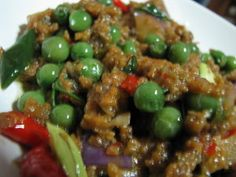 =Indonesian food (west Java) : Tumis Leunca, Oncom & Daging cincang=