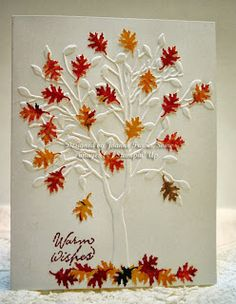 Sleepy in Seattle: Autumn cards--Whisper White cardstock embossed with Darice tree folder and a leaf punch, punched from some pretty fall leaves dp. Sentiment from SU Window on the World.