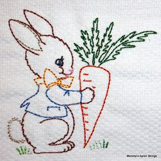 Vintage Embroidery Patterns Bunny and Carrot Machine Embroidery Design hoop, vintage colorwork linework: baby, child, boy, g - Learn Embroidery, Hand Embroidery Designs, Vintage Embroidery, Embroidery Applique, Cross Stitch Embroidery, Embroidery Patterns, Lazy Daisy Stitch, Japanese Embroidery, Baby Kind