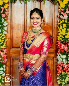 South Indian Bride Jewellery, South Indian Wedding Saree, Indian Bridal Sarees, Wedding Silk Saree, Indian Bridal Fashion, Indian Wedding Outfits, Bridal Outfits, Indian Outfits, Indian Jewelry