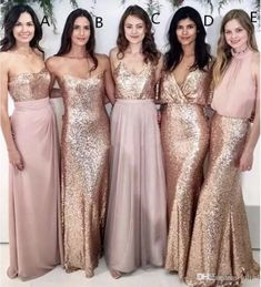 Modest Blush Pink Beach Wedding Bridesmaid Dresses with Rose Gold Sequin Mismatched Wedding Maid of Honor Gowns Women Party Formal Wear 2017
