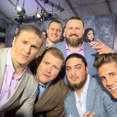 """Selfie at the """"Pitch Perfect 2"""" opening. Don Barclay, Josh Sitton, Clay Matthews, TJ Lang and Dave Bakitiari."""