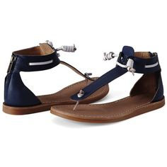a236232999281 Canvas by Lands  End Women s Leather Thong Sandals ( 40) ❤ liked on Polyvore  featuring shoes