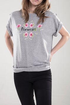 """Camiseta """"Flowers"""" (gris)"""