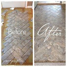 DIY Herringbone Peel-n-Stick Tile Floor Before and After by Grace + Gumption
