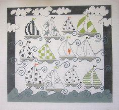 Twelve Sailboats went a Sailing, Pippin needlepoint canvas