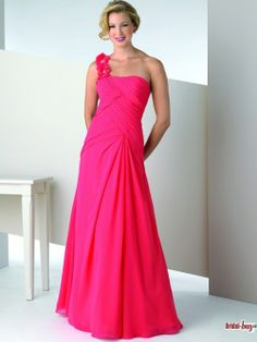 Hot Pink One Shoulder Sexy Low Back Long Chiffon Mother of the Bridesmaid Dresses Under $125 MBD20428