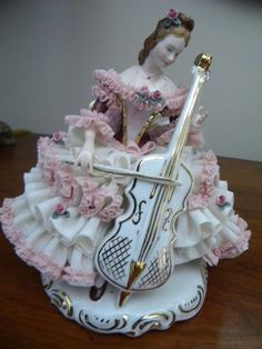 Antique German Dresden Porcelain Lace Cello Pink Lady Figurine