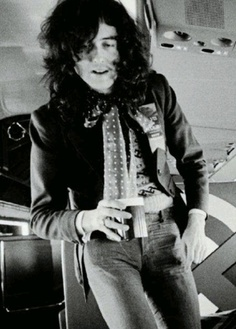 """Jimmy Page aboard the band's private jet, """"The Starship"""""""