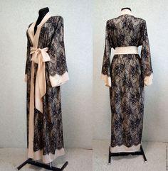 """Халаты ручной работы. Ярмарка Мастеров - ручная работа. Купить Длинный шелковый халат кимоно с кружевом """"Jasmin"""". Handmade. Халатик"""