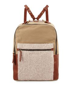 Southside+Leather-Trim+Canvas+Backpack,+Natural+by+Kelsi+Dagger+at+Neiman+Marcus+Last+Call.