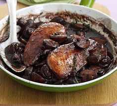 The rich sauce is so tasty you won't want to share it with anyone. Try substituting the chicken for steak for a quick Beef Bourguignon. From BBC Good Food. Bbc Good Food Recipes, Cooking Recipes, Yummy Food, Tasty, Gourmet Recipes, Yummy Recipes, Red Wine Chicken, Bbc Good Food Show, Venison Steak