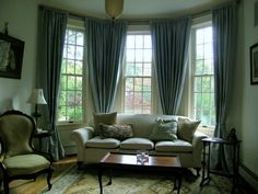 tables and curtains to pliment Queen Anne style Living Room