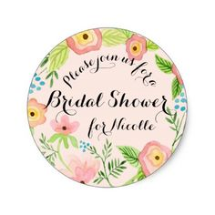 Rustic Blush Granny Chic Hipster Floral Bridal Classic Round Sticker - bridal gifts bride wedding marriage