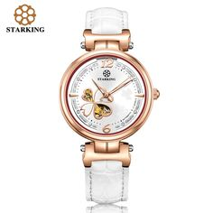 US $84.45 - STARKING Brand Ladies Automatic Mechanical Watch Women Rose Gold Diamond Bracelet Watches Business Clover Wristwatches AL0200