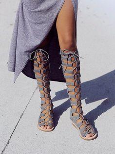 knee high gladiator sandals.