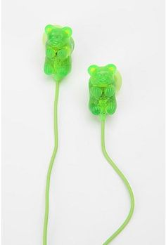 UrbanOutfitters.com > Gummy Bears Earbud Headphones - Green $12
