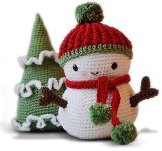 Patrón amigurumi Frosty el muñeco de nieve y árbol de por pepika