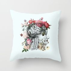 Inspired by the human brain - It is an anatomical wonder! Working hard every day to keep everything going... the ultimate multi-tasker - we hardly ever think about it...until something happens... Take good care of your beautiful brains! Makes a perfect gift!  Pillow is vibrantly printed on both sides with the same image. custom sizes available Original art of Catherine Holcombe. Copyright 2016  Throw Pillow made from 100% polyester poplin fabric, pillow measures 18 by 18 and is finished…